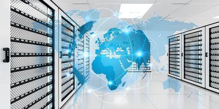 banco mundial: Digital white Earth network flying over server room data center 3D rendering Foto de archivo