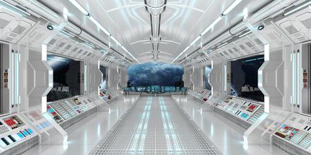 공간과 먼 행성의 시야를 가진 우주선 내부 시스템 3D 렌더링 스톡 콘텐츠