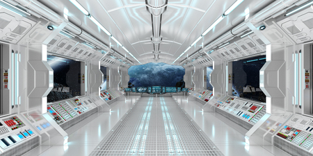 Spaceship interior with view on space and distant planets system 3D rendering Foto de archivo