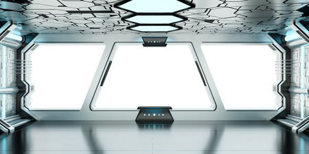 window view: Spaceship blue and white interior with white window view 3D rendering