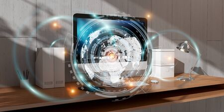 table: Office with modern devices and digital datas on hologram screens 3D rendering Stock Photo