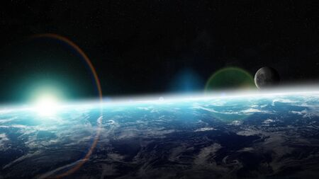 stars: View of the planet Earth from space during a sunrise 3D rendering Stock Photo
