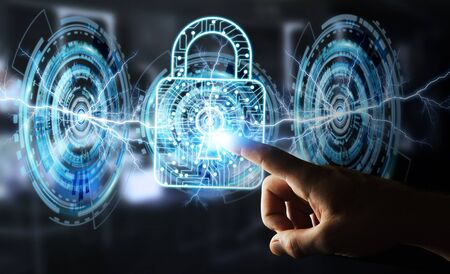 protect: Businessman on blurred background using digital padlock to secure his datas 3D rendering