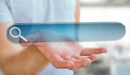 Man using tactile interface web address bar to surf on internet 3D rendering