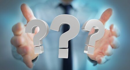 problem: Businessman on blurred background using 3D rendering question marks