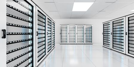 White server room data center storage with blue lights 3D rendering
