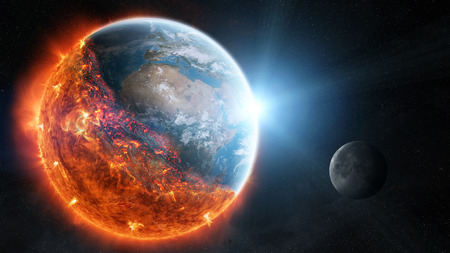 View of planet earth burning in space 3D rendering