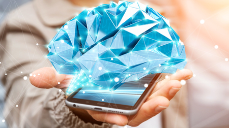 skill: Businessman holding digital human brain with cell and neurons activity 3D rendering