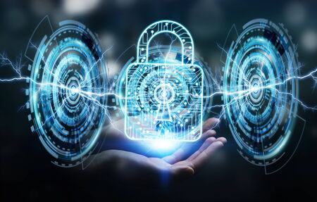 Businesswoman on blurred background using digital padlock to secure her datas 3D rendering Stock Photo