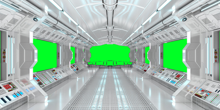 Spaceship interior with view on green windows 3D rendering elements of this image furnished by NASA Stock Photo