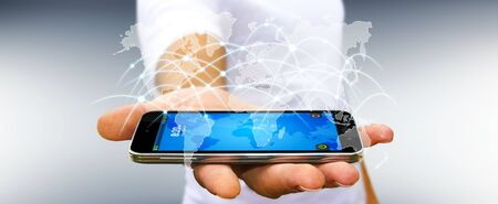 international internet: Businessman using global network and data exchanges with a mobile phone '3D rendering'