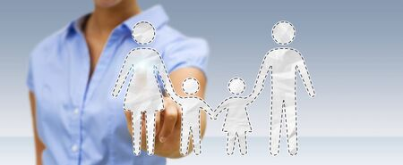 Businesswoman on blurred background holding family interface in his hand 3D rendering