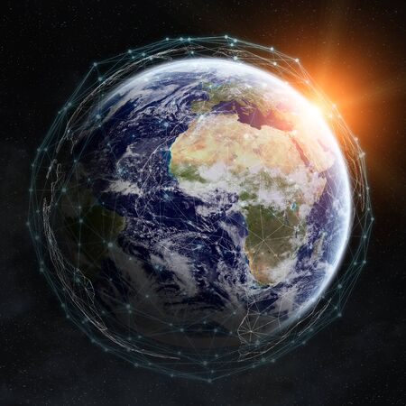 screen: Data exchange and global network over the world 3D rendering elements of this image furnished by NASA