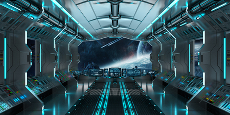 Spaceship interior with view on space and distant planets system 3D rendering Stock fotó