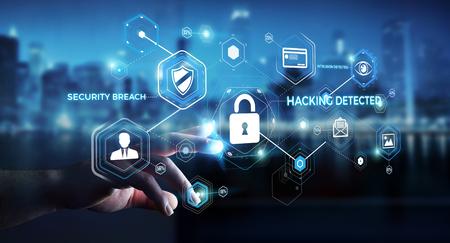 Empresario en el fondo borroso utilizando antivirus para bloquear un ataque cibernético 3D rendering Foto de archivo - 75729557