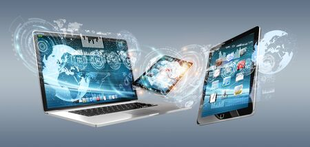 screen: Tech devices with icons and graphs flying on grey background 3D rendering Stock Photo