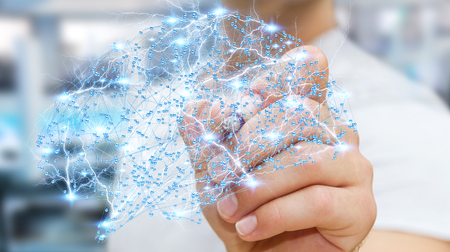 Businessman drawing digital human brain with cell and neurons activity 3D rendering Stockfoto