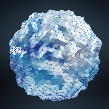 spot: Floating white and blue glowing sphere network on black background 3D rendering