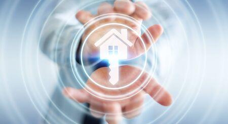 Uomo d'affari su sfondo sfocato azienda icona di rendering 3D casa in sua mano