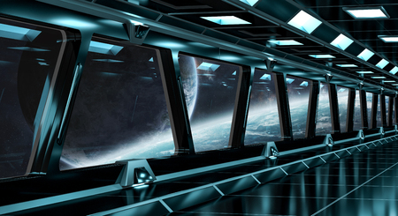 Spaceship black corridor with view on space and distant planets system 3D rendering Stock Photo