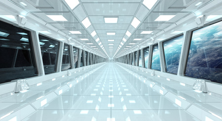 Spaceship white corridor with view on space and planet Earth 3D rendering