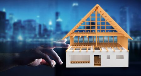unfinished building: Businesswoman on blurred background touching 3D rendering unfinished plan house with her finger