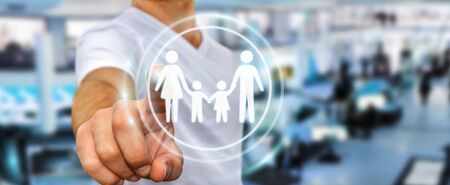 security symbol: Businessman on blurred background touching family interface with his finger 3D rendering
