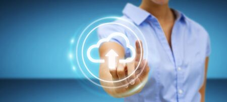 Businesswoman on blurred background using digital cloud 3D rendering