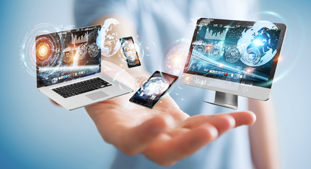 screen: Businessman on blurred background connecting tech devices 3D rendering