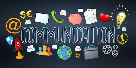 communication: Hand-drawn communication text with icons on dark background Stock Photo