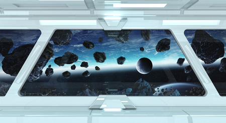 stars: Spaceship white corridor with view on space and distant planets system 3D rendering