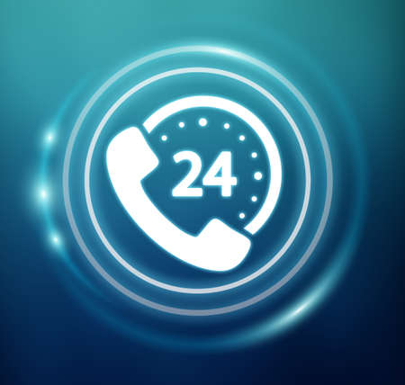 hotline: 3D rendering customers assistance icon on blue background