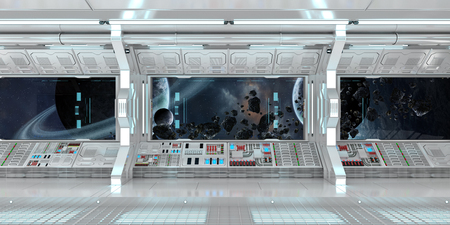 starship: Spaceship interior with view on space and distant planets system 3D rendering elements of this image furnished by NASA