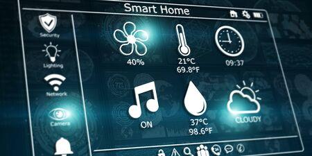 grey: 3D rendering modern digital smart house interface on blue background