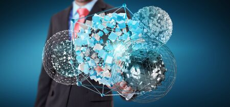 international internet: Businessman on blurred background touching flying abstract sphere with shiny cube 3D rendering