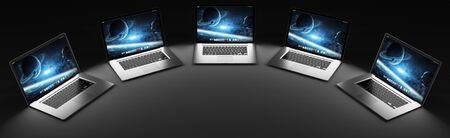 black metallic background: Five modern laptop connected to each other in the dark 3D rendering