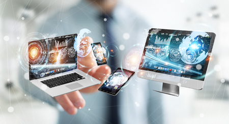 Businessman on blurred background connecting tech devices 3D rendering Stock Photo - 76073605