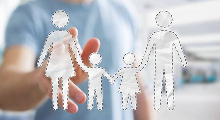 Businessman on blurred background touching family interface with his finger 3D rendering