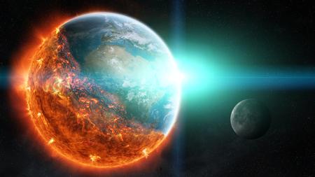 NASA から提供されたこのイメージの空間 3 D レンダリング要素の燃焼地球のビュー 写真素材