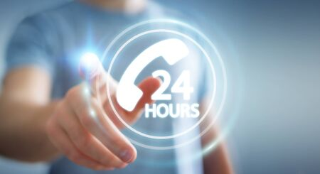Businessman on blurred background using hotline customer assistance 3D rendering Stock Photo