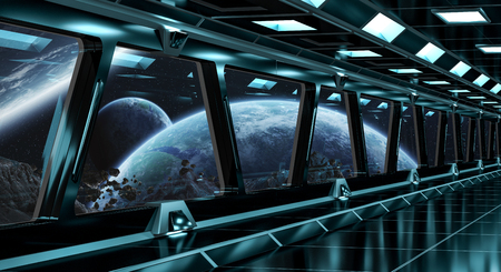 stars: Spaceship black corridor with view on space and distant planets system 3D rendering Stock Photo
