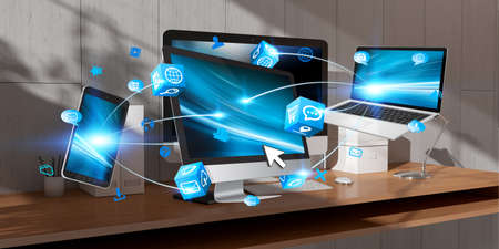 working on computer: Flying modern devices computer and phones on desktop interior 3D rendering