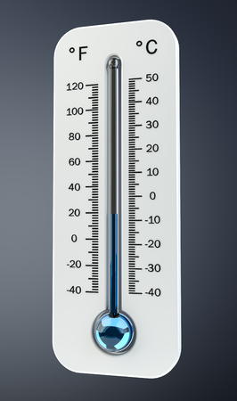 crystal background: 3D render cold white thermometer indicating low temperature on grey background