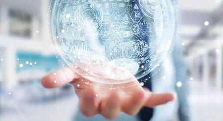 international internet: Businessman holding white and blue hologram sphere 3D rendering