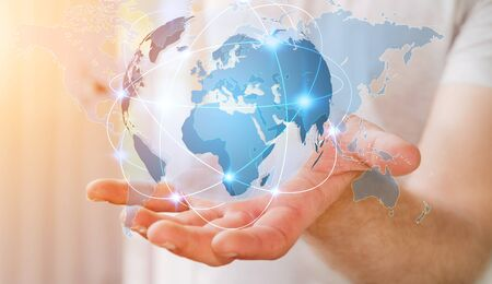 international internet: Businessman holding global network and data exchanges over the world 3D rendering