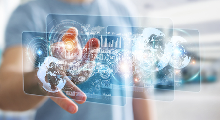 international internet: Hologram screen with digital datas used by businessman on blurred background 3D rendering