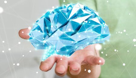 neurons: Businessman holding digital human brain with cell and neurons activity 3D rendering