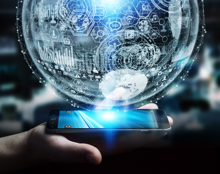 international internet: Businessman holding white and blue hologram sphere over mobile phone 3D rendering