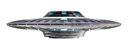 Metal y plata vintage UFO aisladas sobre fondo blanco Representación 3D