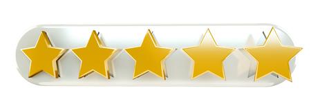 ottimo: Cinque stelle di classificazione oro digitali su sfondo bianco Rendering 3D Archivio Fotografico